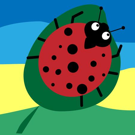 Lady-bird or red ladybug isolated on light background, cartoon vector illustration.