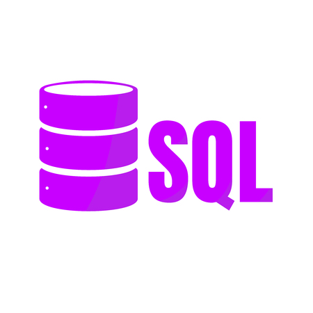 SQL Database Icon Logo Design UI or UX App. Purple inscription with shadow Stock Photo