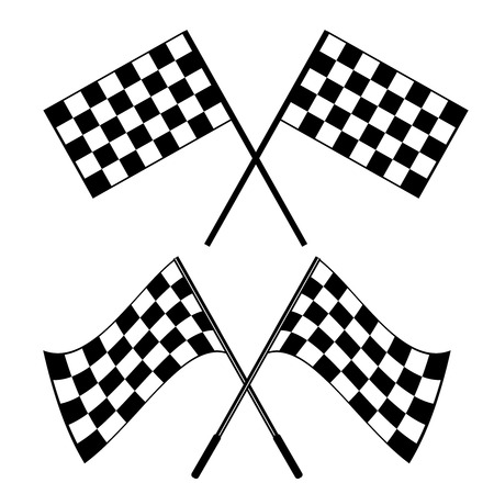 formula one: Crossed waving black and white checkered flags logo conceptual of motor sport, isolated on white
