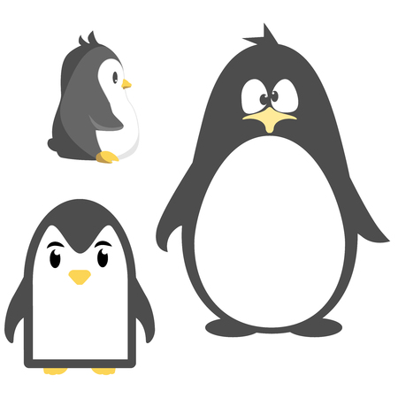 Abstract cute penguins set vector in cartoon style isolated on white background. Funny image illustration. Illustration