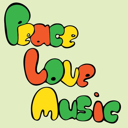 Design of Peace, Love and Music in bubble style in green, yellow and red colors.