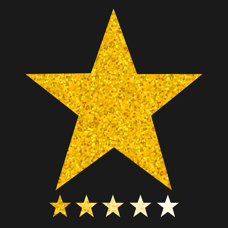 Isolated gold and yellow star icons in set, ranking mark. Modern simple favorite sign, decoration symbol for website design, web button, mobile app.