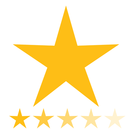 shiny buttons: Isolated gold and yellow star icons in set, ranking mark. Modern simple favorite sign, decoration symbol for website design, web button, mobile app.