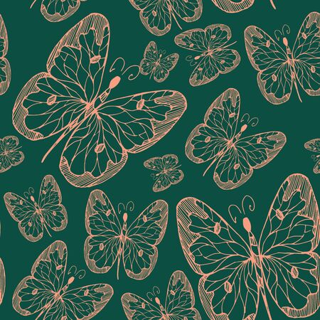 Seamless abstract pattern background with flying hand drawn butterflies. Design for textile or paper. Imagens