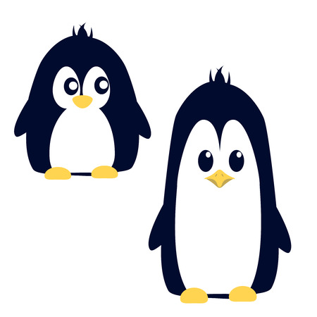 Abstract cute penguin in cartoon style isolated on white background. Funny image illustration.
