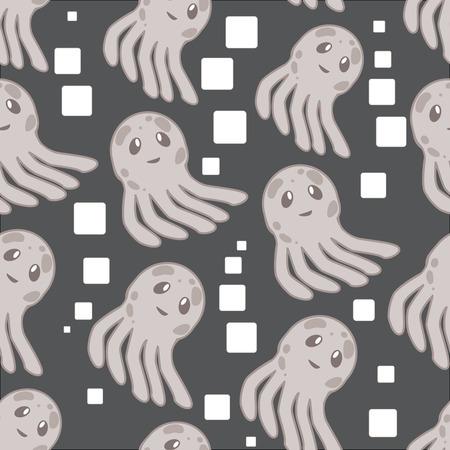 Cute happy jellyfish cartoon character sea animal illustration. Invertebrate animal sea fauna jellyfish medusa illustration. Nature animal aquatic medusa, aquarium tropical marine. Stock Vector - 86491974