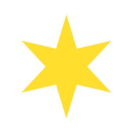 Isolated Yellow Gold Star Icon Ranking Mark With Six Rays Modern