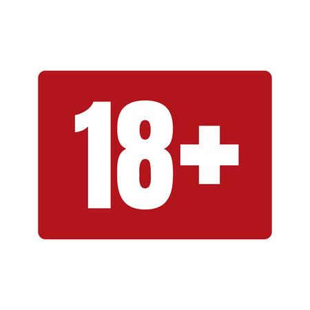 赤の背景に年齢アイコンを制限します。アイコン年齢制限 18, ベクトルフラットイラスト.  イラスト・ベクター素材