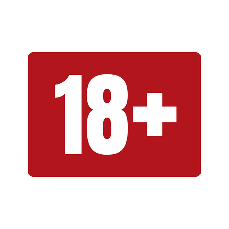 Limit age icon on red background. Icons age limit from 18, vector flat illustration.