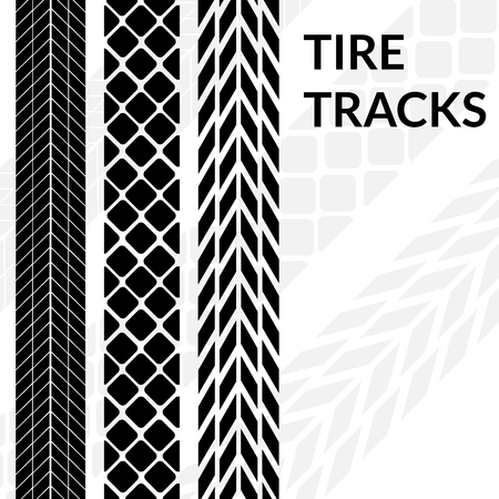 snow tires: Tire tracks wheel car different black dark vector trail. Print silhouette. Illustration