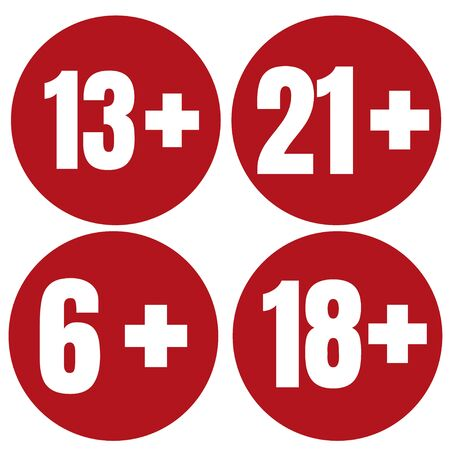 Limita l'icona dell'età su sfondo rosso. Illustrazione piana di vettore limite di età delle icone. Vettoriali