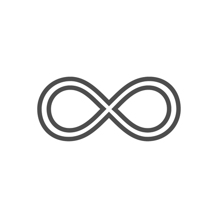 Infinity symbol loop. Figure 8 icon, eternity logo sign in original design, forever eternity knot, number 8 inverted in flat style.
