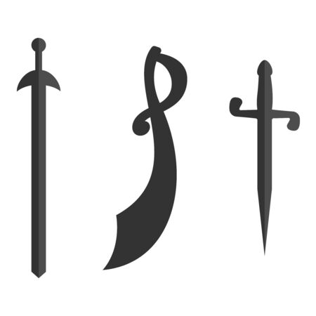 Set of historical swords saber silhouettes. Illustration with vector slashing weapons. Cavalry sword, sabre on a white background.