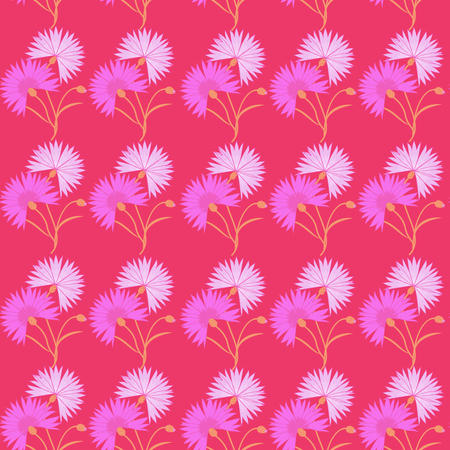 A Seamless pattern with red flower cornflower isolated on white background.