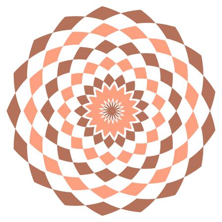 Simple geometrical pattern with rhombuses. Orange and red kaleidoscope vector mandala art.