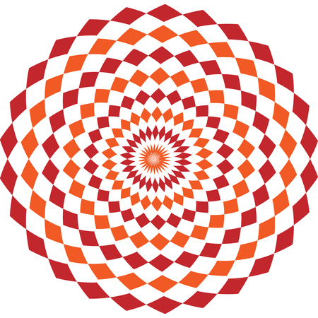 Simple ethnic indian geometrical pattern with rhombuses. Orange and red kaleidoscope vector mandala art.