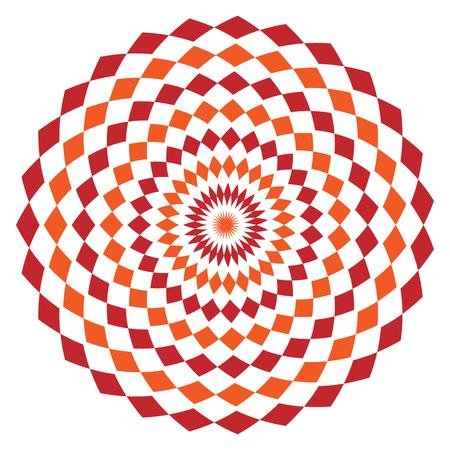 Simple ethnic indian geometrical pattern with rhombuses. Orange and red kaleidoscope vector mandala art.