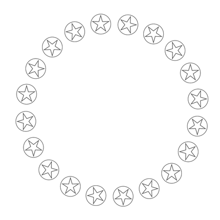 Star in circle shape. Starry border frame icon isolated on a white background. Reklamní fotografie
