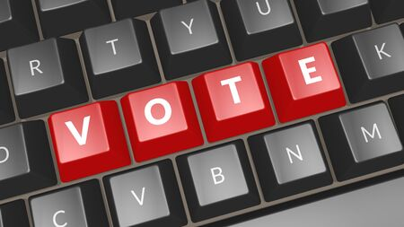 Word Vote on black keyboard. Computer key showing the word Vote. Professional expert icon. 3D illustration