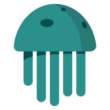 Cute happy jellyfish cartoon character sea animal illustration. Nature animal aquatic medusa, aquarium tropical marine.