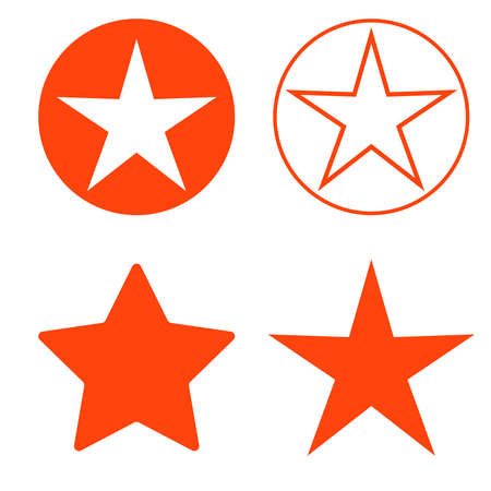 Isolated red star icon, ranking mark set.