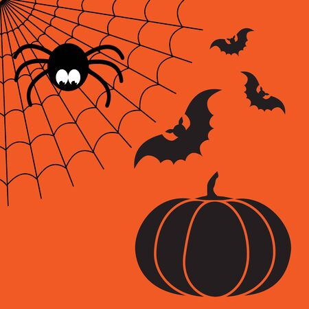 Black and orange cartoon isolated spider web with funny spider, flying bats and pumpkin. Simple image with cobweb for halloween party. Stock Photo