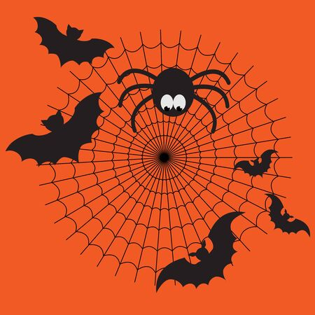 Black and orange cartoon isolated spider web with funny spider, flying bats. Simple image with cobweb for halloween background.