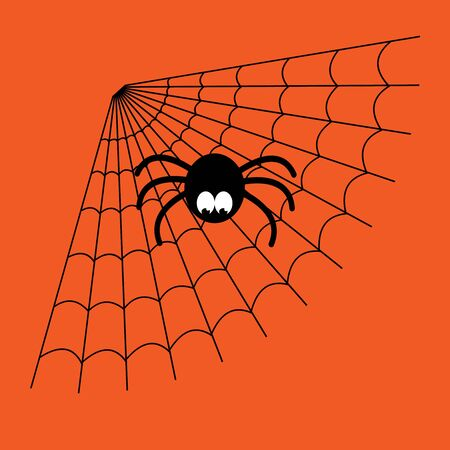 Black and orange cartoon isolated spider web with funny spider. Simple image with cobweb for halloween.