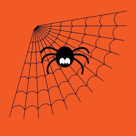 Zwart en oranje cartoon geïsoleerd spinnenweb met grappige spider. Eenvoudig beeld met spinneweb voor Halloween. Stockfoto