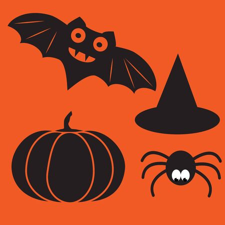 Funny halloween mystery vampire silhouettes. Dark spooky bats monsters isolated from orange background. Stock Photo