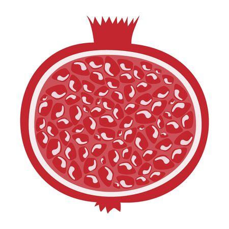 Whole pomegranate design juicy fresh fruit icon.