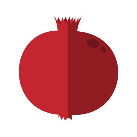 Whole pomegranate design juicy fresh fruit icon. Raw pomegranate flat cartoon illustration template.