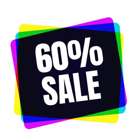 Special offer sale tag. Discount symbol retail. Colorful sticker sign price isolated from white background. Label in modern graphic style illustration for black friday or bargain sale. Stock Photo