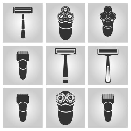 Flat trendy dark icon with electric shaver isolated from gray background. Woman trimmer for shaving. Classic safety vector razor.