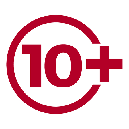 Limit age icon on red background. Icons age limit from ten, vector flat illustration.
