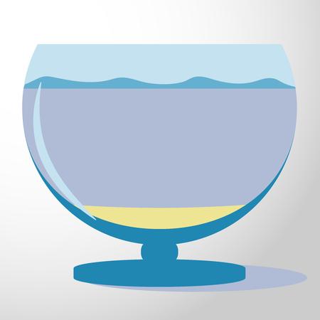 aquarium silhouette illustration. Colorful funny cartoon flat aquarium icon isolated on background.