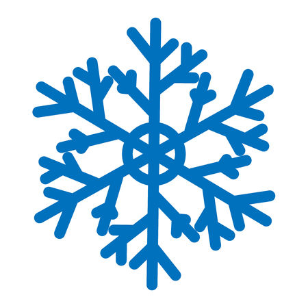Blue ornate vector snowflake isolated on white background. Flat icon with christmas and winter theme. Simple snow symbol illustration. Illustration