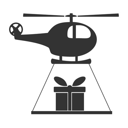Black and white helicopter icon isolated on background with present. Chopper rotorcraft in dark color. Simple vector illustration symbol