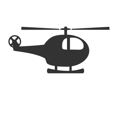 Black and white helicopter icon isolated on background. Chopper rotorcraft in dark color. Simple vector illustration symbol