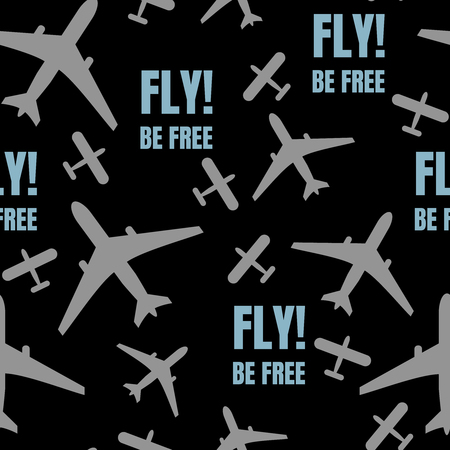 Abstract seamless background design cloth texture with flying airplane. Creative endless fabric pattern with shapes of small planes. Simple soft graphic tile images for wallpapers. Imagens
