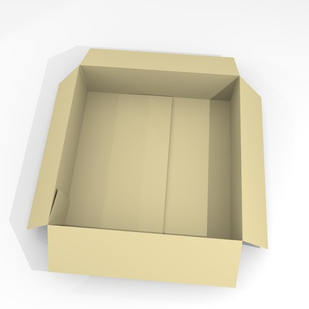Empty open box isolated on white background. 3D illustration of paper box for transportation. Cardboard small package realistic and detailed. Imagens