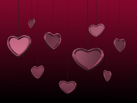 Beautiful heart background with glossy pink red hearts on a strings. Background with dark gradient. 3D rendering. Illustration for St Valentines day holiday.