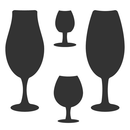 Set of different wine-glass silhouettes of goblets isolated on white background. Ilustração