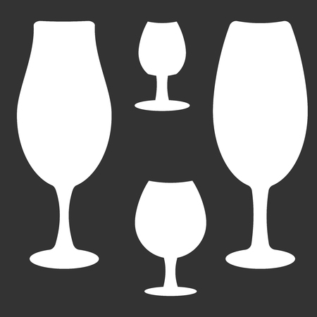 Set of different wine-glass silhouettes of goblets isolated on dark background.