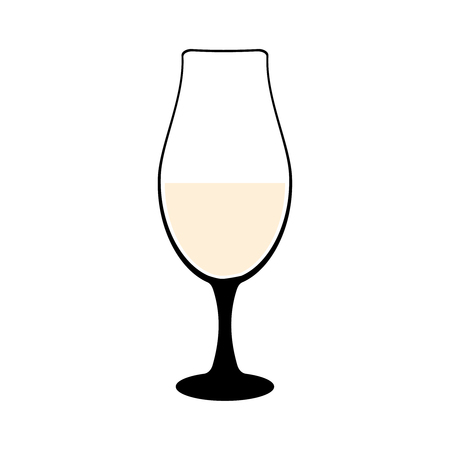 Vine-glass silhouette of goblets with wine or drinks isolated on white background. Alkohol vector illustration Ilustração