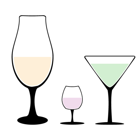 Set of different wine-glass silhouettes of goblets with wine or drinks isolated on white background. Alkohol vector illustration.