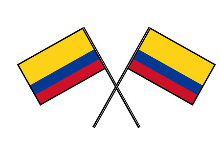Flag of Colombia. Stylization of national banner. Simple vector illustration with two flags.