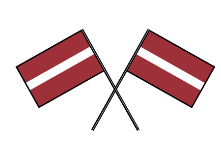 Flag of Latvia. Simple vector illustration with two flags. Vectores