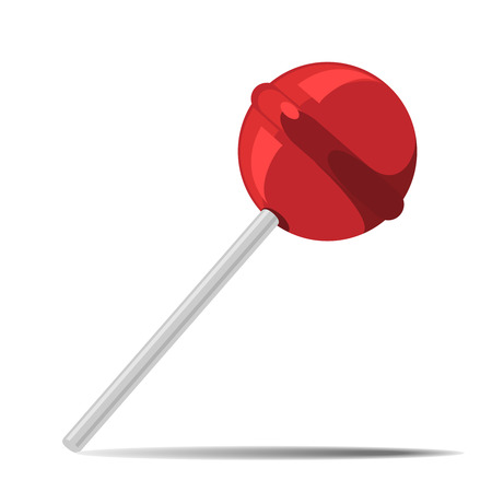 Red vector candy on stick with shadow. Nice delicious lolipop with watermelon or cherry taste Ilustração