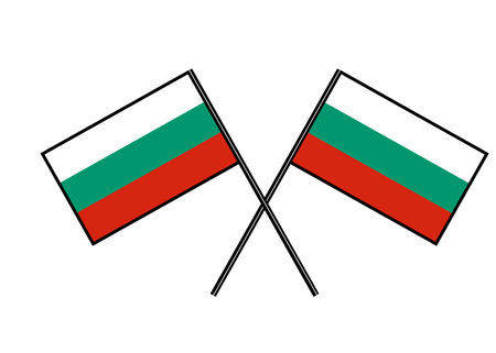 Flag of Bulgaria. Stylization of national banner. Simple vector illustration with two flags.